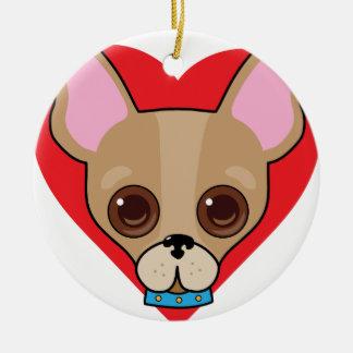 Chihuahua Face Round Ceramic Decoration