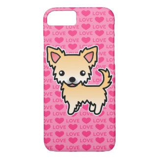 Chihuahua Fawn Long Coat Love Hearts iPhone 8/7 Case