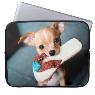 chihuahua flip flops laptop sleeve
