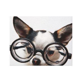 Chihuahua glasses - dog eyeglasses canvas print