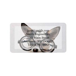 Chihuahua glasses - dog eyeglasses label