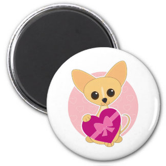 Chihuahua Heart 6 Cm Round Magnet