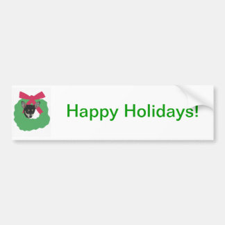 Chihuahua Holiday Wreath Bumper Sticker