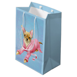 Chihuahua in a Bathrobe Dog Medium Gift Bag