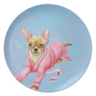 Chihuahua in a Bathrobe Dog Melamine Plate