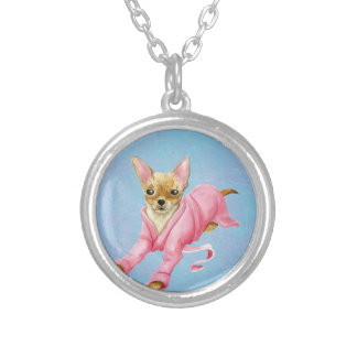 Chihuahua in a Bathrobe Dog Small Round Necklace