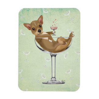Chihuahua in Cocktail Glass Rectangular Photo Magnet