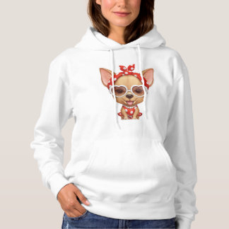 Chihuahua in the Guise of a Retro Beauty Hoodie