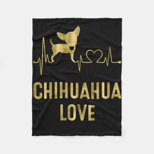 Chihuahua Love Black Fleece Blankets