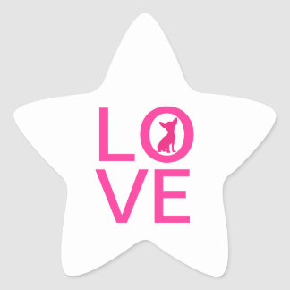 Chihuahua love pink dog cute star stickers, gift star sticker