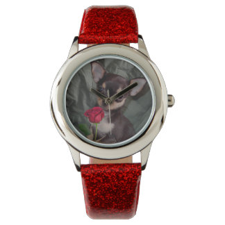 Chihuahua MerryRose Holding A Rose Watch