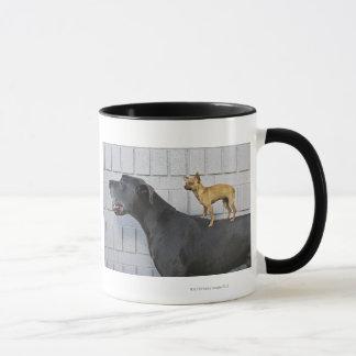 Chihuahua on Great Dane's back Mug