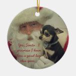 Chihuahua on Santa's Lap Round Ceramic Decoration