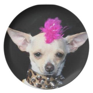 Chihuahua punk rocker dinner plates