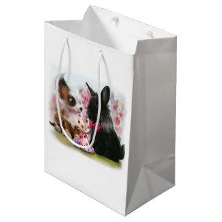 Chihuahua puppy and black rabbit medium gift bag