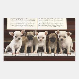 Chihuahua Puppy Dog On Piano ( Chewawa , Chiwawa ) Rectangular Sticker