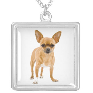 Chihuahua Puppy Dog Pendant Necklace Necklace Square Pendant Necklace