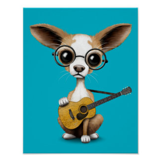Chihuahua Puppy Dog Playing Old Acoustic Guitar Poster