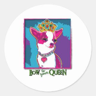 Chihuahua Queen Classic Round Sticker