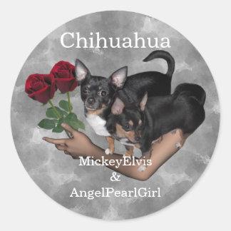 Chihuahua Roses Sticker Round Sticker