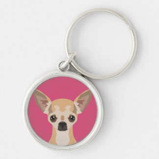 Chihuahua Silver-Colored Round Key Ring