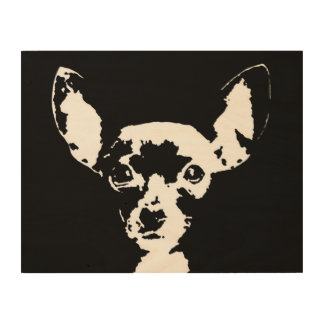 "Chihuahua Stencil Wood 14""x11"" Wall Art"