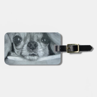 Chihuahua under Blanket original artwork Luggage Tag