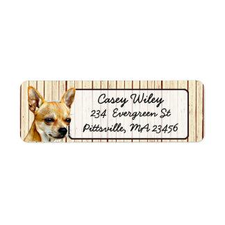 Chihuahua Wood Background Return Address Label