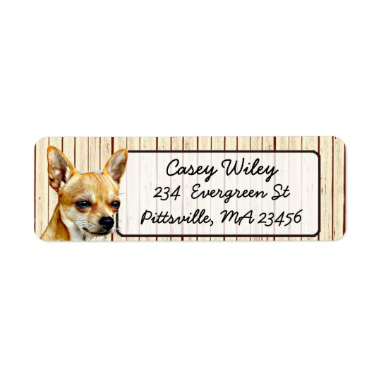 Chihuahua Wood Background Return Address Label