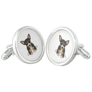 Chihuahuas: Cute Black Tan White Chihuahua Dog Cuff Links