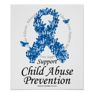 Child Abuse Ribbon of Butterflies Poster