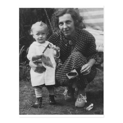 Child and Mother Kneeling with camera Post Cards