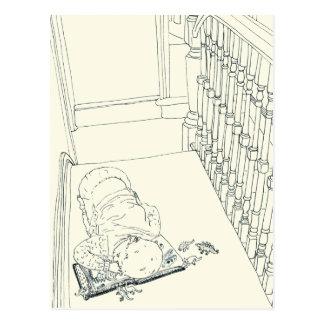 Child asleep funny novelty art postcard