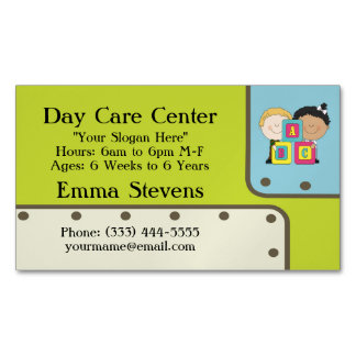 Child Care ABC Kids Business Card Magnet Magnetic Business Cards