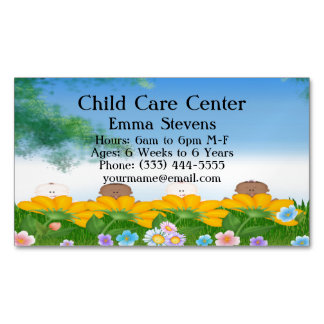 Child Care Baby Flowers Business Card Magnet Magnetic Business Cards