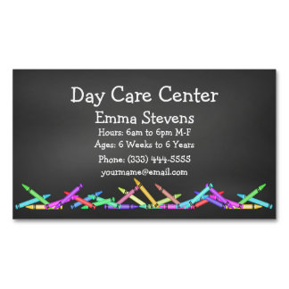 Child Care Chalkboard Crayons Business Card Magnet Magnetic Business Cards