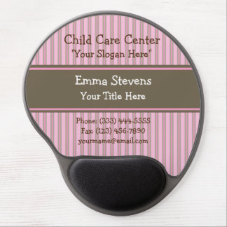 Child Care Pink Stripes, Brown Gel Mouse Pad