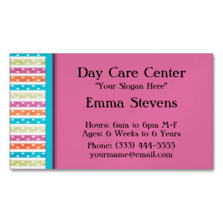 Child Care Pretty Lines and Dots Business Card Mag