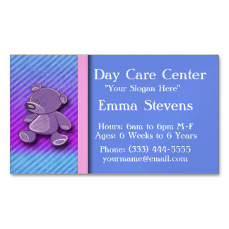 Child Care Purple Teddy Bear Business Card Magnet Magnetic Business Cards