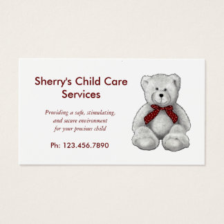 Child Care Services, Day Care, Teddy Bear, Pencil Business Card