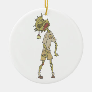 Child Creepy Zombie With Rotting Flesh Outlined Ceramic Ornament