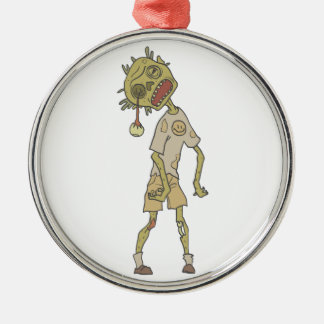 Child Creepy Zombie With Rotting Flesh Outlined Metal Ornament