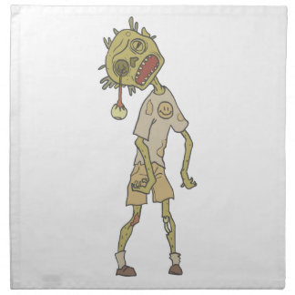 Child Creepy Zombie With Rotting Flesh Outlined Napkin