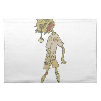 Child Creepy Zombie With Rotting Flesh Outlined Placemat