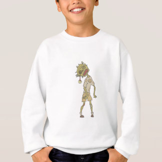 Child Creepy Zombie With Rotting Flesh Outlined Sweatshirt