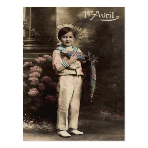 Child Fish Poisson d'avril April Fool's Day Post Card