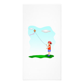Child Flying a Kite Photo Card