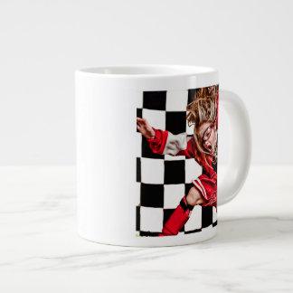 Child Girl Athlete Red Uniform kids soccer 20 Oz Large Ceramic Coffee Mug