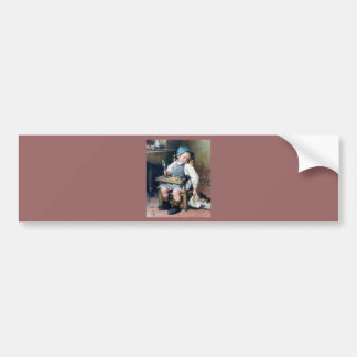 Child Giving Food to Kitten antique painting Bumper Stickers