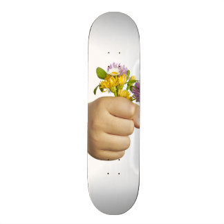 Child Hand Holding Flowers Skateboards